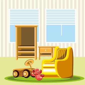 保育園の屋内家具の椅子の棚