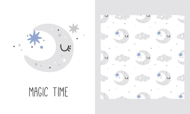 Nursery poster and pattern with cute moon