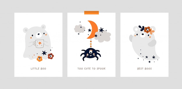 Nursery print or poster with little bear, cute ghost. halloween party