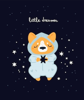 Nursery print with cute dog. corgi puppy sleepy. childish print with cute baby animal