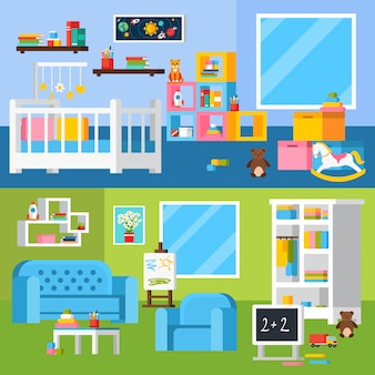 Nursery room cartoon horizontal banners