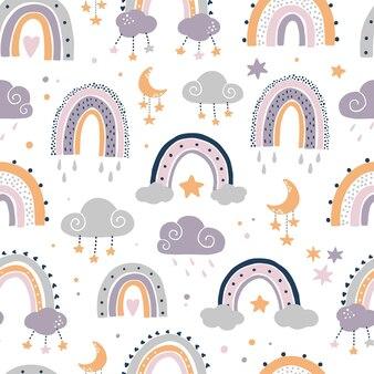 虹と保育室のシームレスなパターン