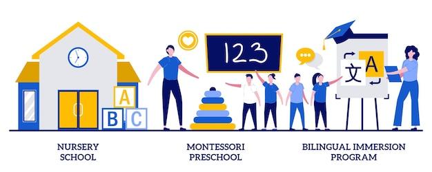 보육원, 몬테소리 유치원, 작은 사람들과 함께하는 이중 언어 몰입 프로그램 개념. 조기 교육 벡터 일러스트 레이 션을 설정합니다. 사립 어린이집, 외국어, 유치원 은유.