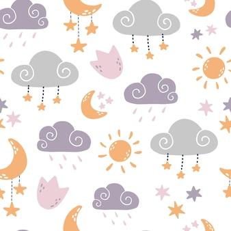 Nursery seamless pattern with clouds