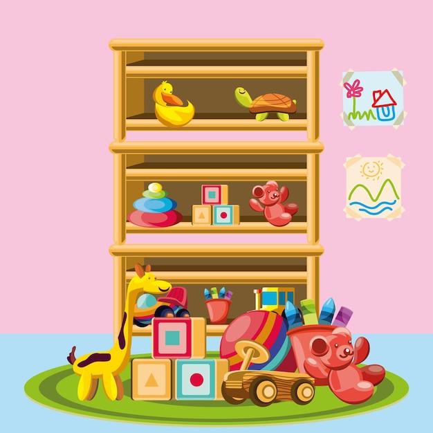 子供のための保育園の棚のおもちゃ