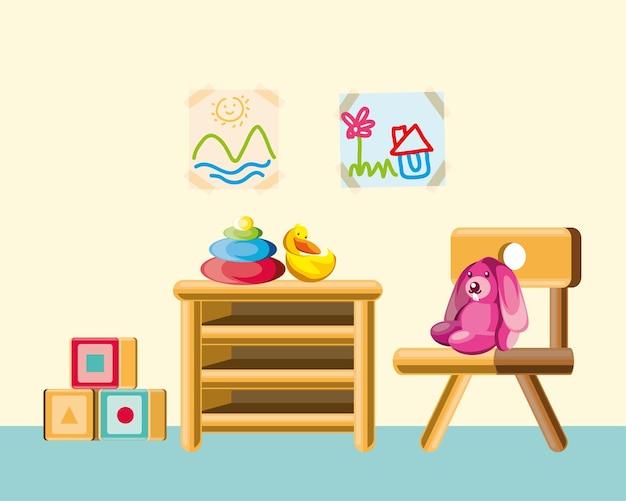 保育園のおもちゃの家具のウサギのブロック