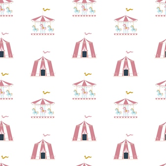 Nursery vector seamless pattern with circus tent and carousel in the scandinavian style.