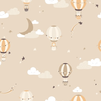 Nursery vector seamless pattern with vintage balloons with animals on the night sky.