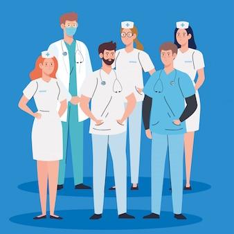 看護師や医師のヘルスケア、ヘルスケア病院医療スタッフベクトルイラストデザイン