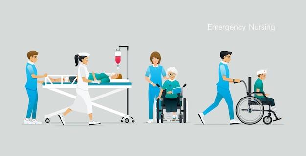 看護師は事故の犠牲者の世話をし、治療を促進しています