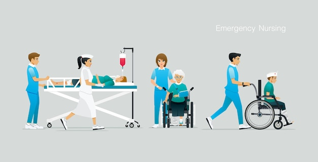 Nurses are caring and expediting treatment for accident victims Premium Vector