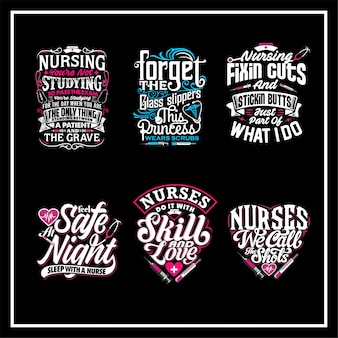 Nurses quotes lettering set