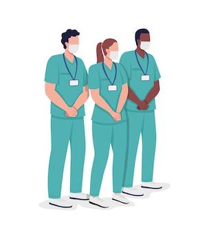 看護グループセミフラットカラーベクトル文字。医療提供者の数字。白の全身の人々。開業医は、グラフィックデザインとアニメーションのモダンな漫画スタイルのイラストを分離しました