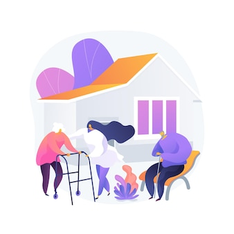 Illustrazione di vettore di concetto astratto casa di cura. struttura di cura, casa residenziale, terapia fisica, servizio di assistenza per anziani, soggiorno di lungo termine per pensionati, metafora astratta di una casa di riposo.