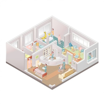 Nursing home. assisted-living facility.   illustration