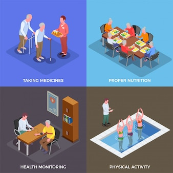 Nursing home concept set of taking medicines proper nutrition health monitoring physical activity square compositions isometric