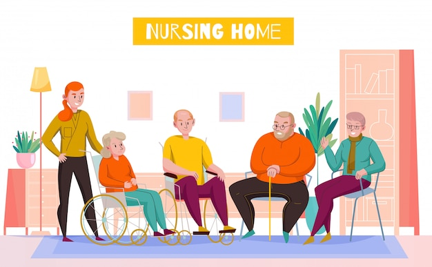 Nursing home day room flat horizontal composition with personnel assisting elderly residents in shared lounge vector illustration