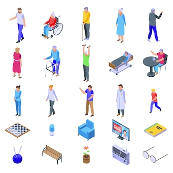 Nursing home icons set, isometric style