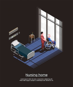 Nursing home isometric composition with elderly man sitting on wheelchair and his caretaker in room interior