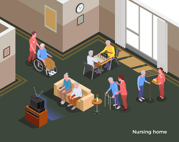 Nursing home isometric illustration illustrated interior of common hall with sofa tv set table for games and inhabitants of social facility