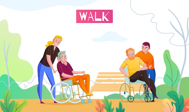 Nursing home outdoor activities with medical attendant and volunteer walking with wheelchair bounded residents flat vector illustration