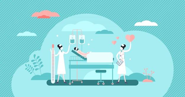 Nursing hospital stuff concept, flat tiny persons