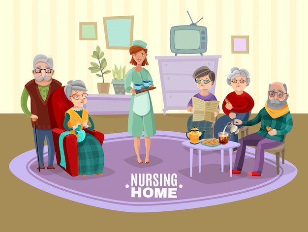 Nursing old people illustration
