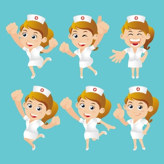 Nursing staff in different poses