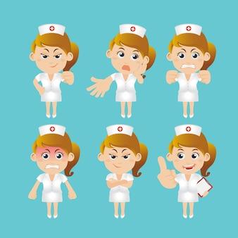 さまざまなポーズの看護スタッフ