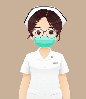 看護は、保護マスク、茶色の背景に白い制服を着た漫画の女性医師または看護師、キャラクターデザインのベクトル図を着用します。