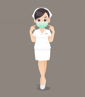 Nursing wears a protective mask, cartoon woman doctor or nurse in white uniform