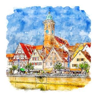 Nurtingen germany watercolor sketch hand drawn illustration