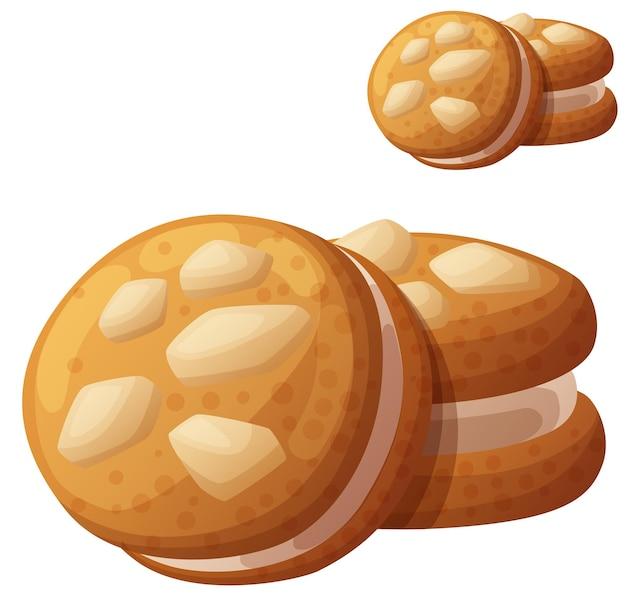 Ореховое печенье подробные векторные иконки, изолированные на белом фоне