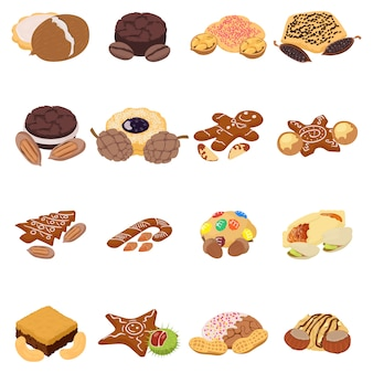 Nut cookie icon set