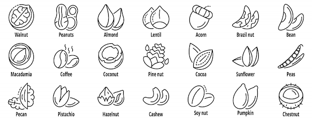 Nut icon set, outline style