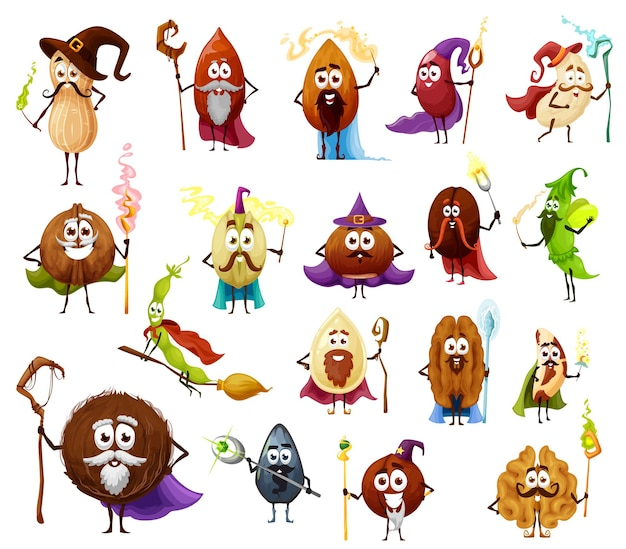 Nut, seed and bean magician and wizards cartoon characters