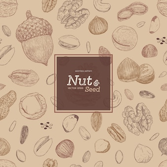 Nut and seed seamless pattern