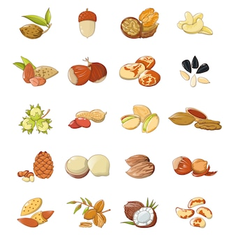 Nut types food icons set
