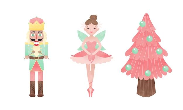 호두 까기 인형 발레리나와 핑크 크리스마스 트리