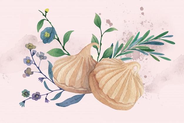 육두구 버터 쿠키 현실적인 수채화 그림