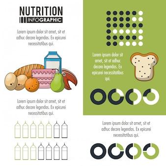 栄養と食物緑のインフォグラフィック