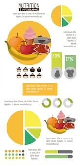 통계 및 요소와 영양 및 식품 인포 그래픽