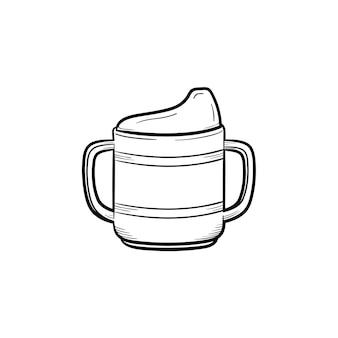 영양 병 손으로 그린 개요 낙서 아이콘입니다. 흰색 배경에 격리된 인쇄, 웹, 모바일 및 인포그래픽을 위한 어린이 및 신생아 벡터 스케치 삽화를 먹이기 위한 영양 병.