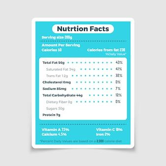 영양 사실 식품 성분 및 비타민 라벨. 영양 사실 및 성분 칼로리 양 일러스트 벡터