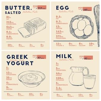 버터, 계란, 요구르트 및 우유의 영양 사실. 손으로 스케치 벡터를 그립니다.