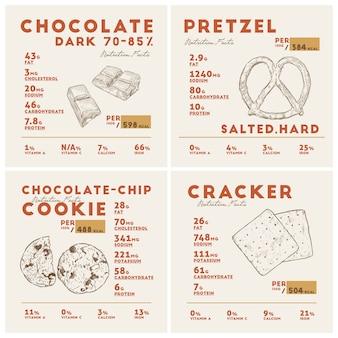 다크 초콜릿, 프레첼, 쿠키 및 크래커의 영양 사실. 손으로 스케치 벡터를 그립니다.