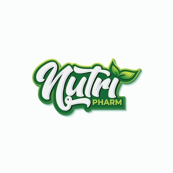 Nutrition pharmacy typography logo design template
