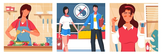 Nutrition with people cooking, oil refusing meat and taking nutraceuticals set illustration