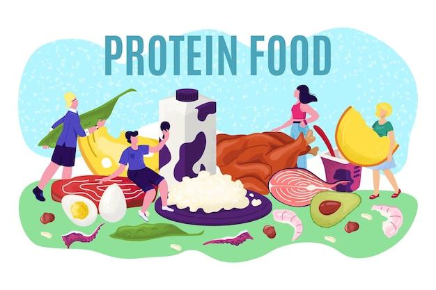 단백질 식품 개념, 벡터 일러스트와 함께 영양입니다. 지방 키토제닉 식사, 야채, 계란, 생선, 고기를 포함한 평평한 건강식.