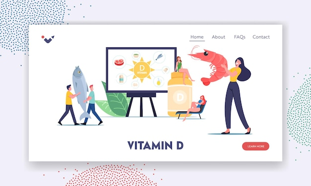 Nutritional addictive supplements for health landing page template. tiny characters presenting sources of vitamin d seafood, organic natural products and sunbathing. cartoon people vector illustration